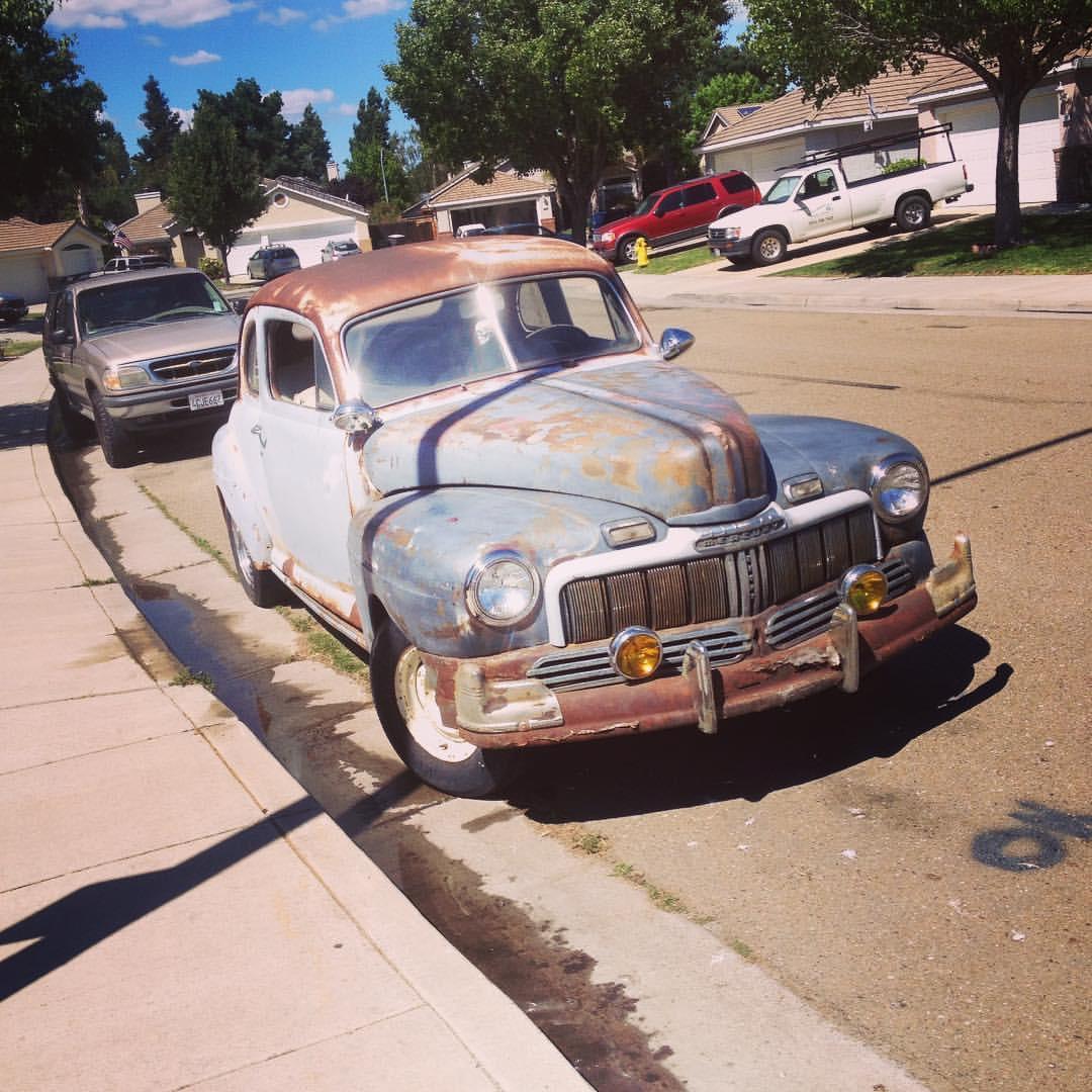 rusty old 1948 mercury coupe hot rod